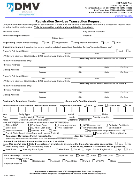 Form Vp 247 Download Fillable Pdf Or Fill Online Registration Services Transaction Request Nevada Templateroller