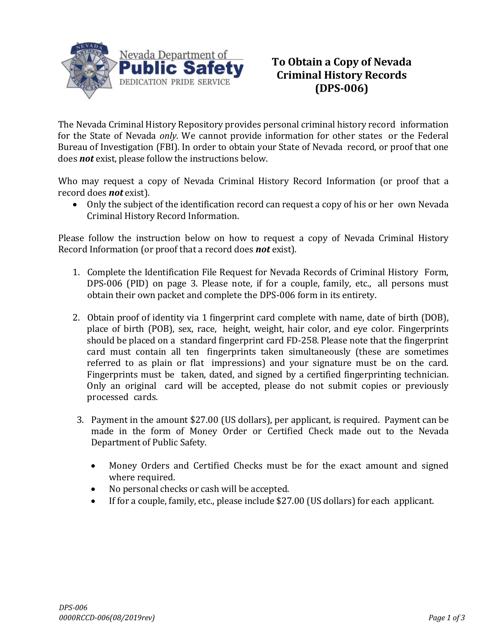 Form DPS-006  Printable Pdf