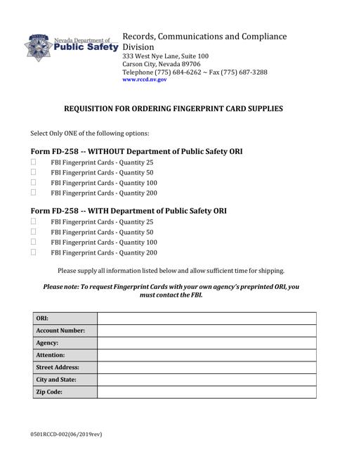 Form 0501RCCD-002  Printable Pdf