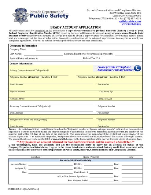 Form 0501RCCD-015  Printable Pdf