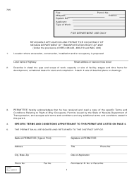 """Form 725 """"Revocable Application and Permit for Occupancy of Nevada Department of Transportation Right-Of-Way"""" - Nevada"""