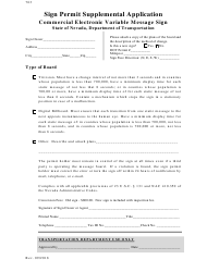 "Form 763 ""Sign Permit Supplemental Application"" - Nevada"