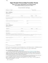 "Form 764 ""Sign Permit Ownership Transfer Form"" - Nevada"