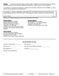 """Form SLAP22.87 """"Live Bait Dealer Permit Application"""" - Nevada, Page 2"""