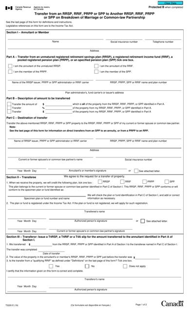 Form T2220 Printable Pdf