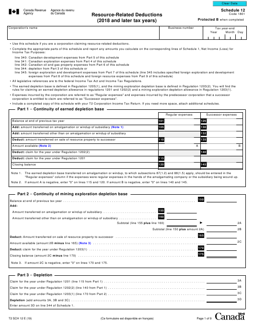 Form T2 Schedule 12 Printable Pdf