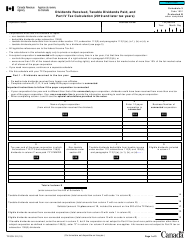 "Form T2 Schedule 3 ""Dividends Received, Taxable Dividends Paid, and Part IV Tax Calculation (2019 and Later Tax Years)"" - Canada"