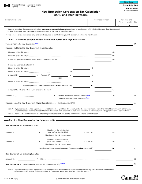 Form T2 Schedule 366 Printable Pdf