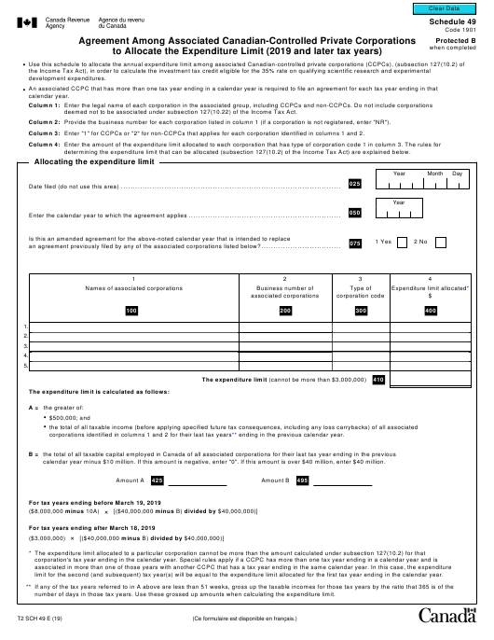 Form T2 Schedule 49 Printable Pdf