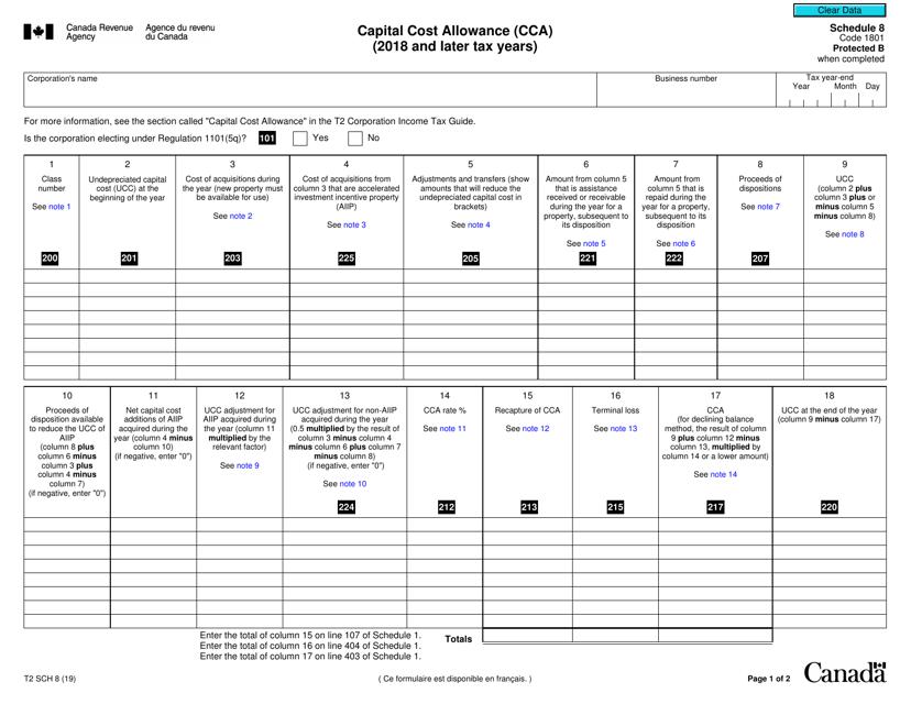 Form T2 Schedule 8 Printable Pdf
