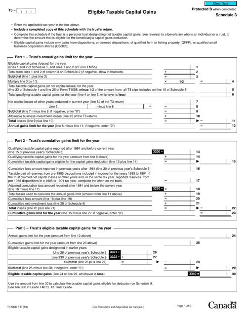 Form T3 Schedule 3 Printable Pdf