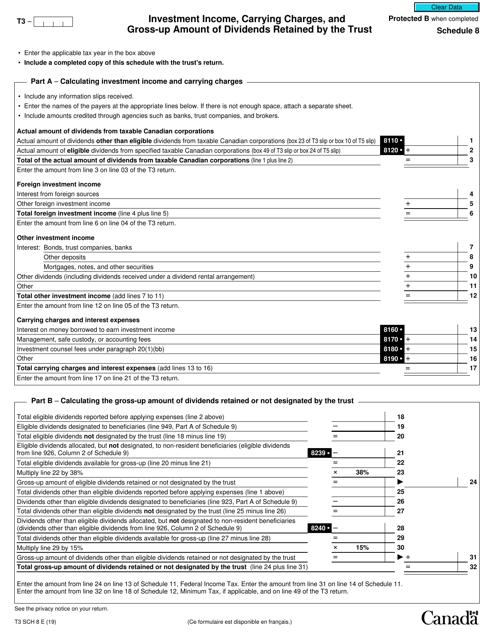 Form T3 Schedule 8 Printable Pdf