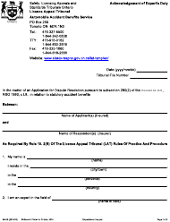 """Form 004-3040E """"Acknowledgement of Expert's Duty"""" - Ontario, Canada"""