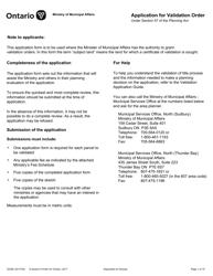 "Form 017-2034E ""Application for Validation Order"" - Ontario, Canada"