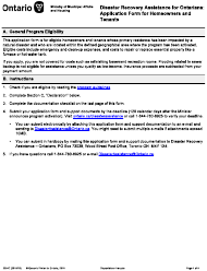 """Form 2234E """"Disaster Recovery Assistance for Ontarians: Application Form for Homeowners and Tenants"""" - Ontario, Canada"""