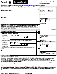 """Form SR-LD-049E """"Application for Ontario Photo Card - Ontario Residents Only"""" - Ontario, Canada"""
