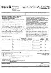 "Form CT23 (2495B) Schedule 114 ""Apprenticeship Training Tax Credit (Attc)"" - Ontario, Canada"