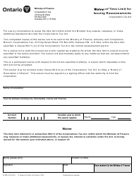 """Form 0146 """"Waiver of Time Limit for Issuing Reassessments - Corporations Tax"""" - Ontario, Canada"""