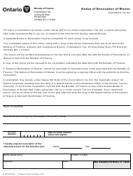 """Form 0316 """"Notice of Revocation of Waiver"""" - Ontario, Canada"""