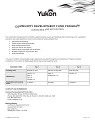 "Form YG4665 ""Community Development Fund Application"" - Yukon, Canada"