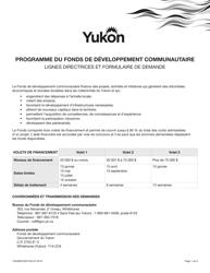 "Forme YG4665 ""Fonds De Developpement Communautaire Demande"" - Yukon, Canada (French)"