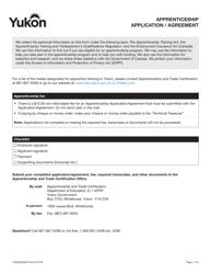 """Form YG5822 """"Apprenticeship Application/Agreement"""" - Yukon, Canada"""