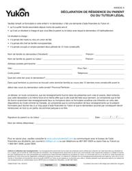 "Forme YG6012 Agenda A ""Declaration De Residence Du Parent Ou Du Tuteur Legal"" - Yukon, Canada (French)"
