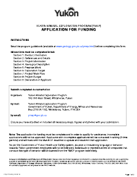 "Form YG6715 ""Yukon Mineral Exploration Program (Ymep) Application for Funding"" - Yukon, Canada"