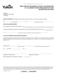 """Forme YG6759 """"Declaration Solennelle Pour L'autorisation Et La Cession D'une Procuration D'une Societe Par Actions"""" - Yukon, Canada (French)"""