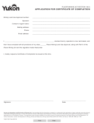 """Form YG5211 """"Application for Certificate of Completion"""" - Yukon, Canada"""