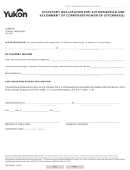"""Form YG6759 """"Statutory Declaration for Authorization and Assignment of Corporate Power of Attorney(S)"""" - Yukon, Canada"""