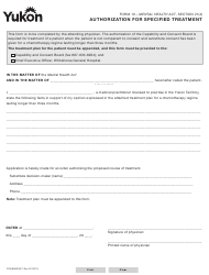 "Form 10 (YG3996) ""Authorization for Specified Treatment"" - Yukon, Canada"