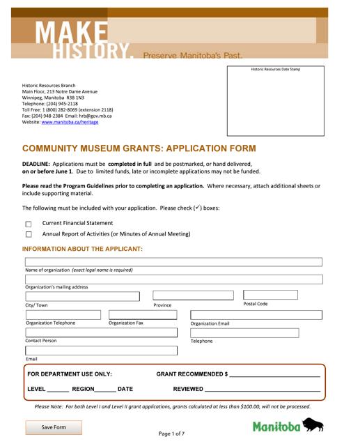 """Community Museum Grants: Application Form"" - Manitoba, Canada Download Pdf"