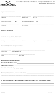 "Form 52.3 ""Application: License for Operation of a Meat/Meat Processing Plant"" - Nova Scotia, Canada"