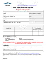 "Form LSAD100F5.16 ""Home Lawn & Garden Submission Form"" - Nova Scotia, Canada"