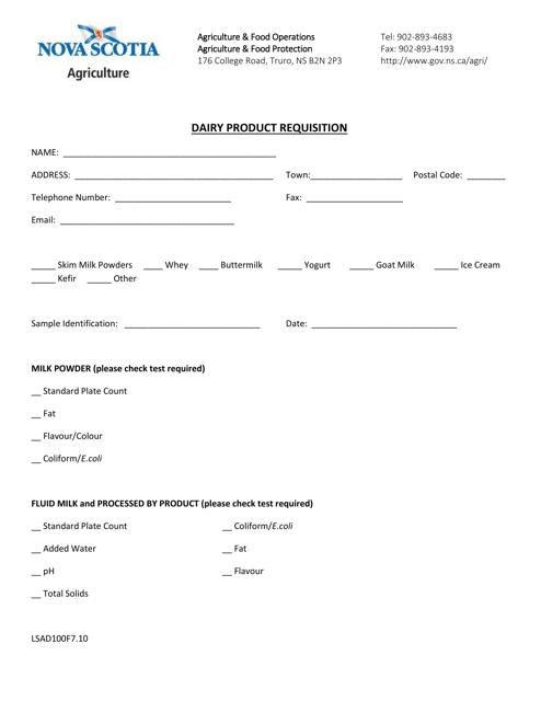 Form LSAD100F7.10 Printable Pdf