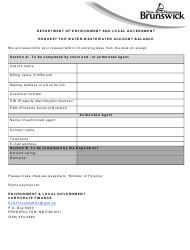 """""""Request for Water/Wastewater Account Balance"""" - New Brunswick, Canada"""