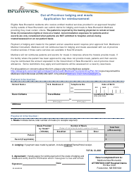 """""""Out-Of-Province Lodging and Meals Application for Reimbursement"""" - New Brunswick, Canada"""