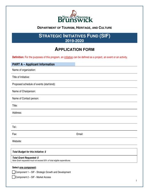"""Strategic Initiatives Fund (Sif) Application Form"" - New Brunswick, Canada Download Pdf"