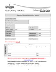 """Community Museums Assistance Program Application Form"" - New Brunswick, Canada"