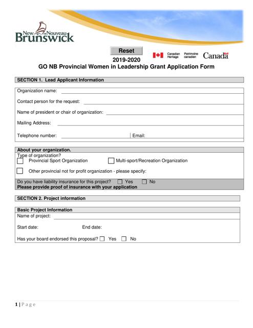 """Go Nb Provincial Women in Leadership Grant Application Form"" - New Brunswick, Canada Download Pdf"