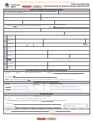 """Form VSA434D """"Application for Declaration of Particulars Certificate"""" - British Columbia, Canada"""