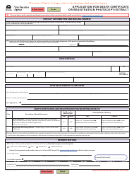 """Form VSA430D """"Application for Death Certificate or Registration Photocopy/Extract"""" - British Columbia, Canada"""