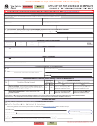 """Form VSA430M """"Application for Marriage Certificate or Registration Photocopy/Extract"""" - British Columbia, Canada"""