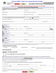 "Form VSA430SB ""Application for Stillbirth Certificate of Remembrance"" - British Columbia, Canada"