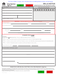 """Form VSA531 """"Wills Notice (Registration of the Location of a Will)"""" - British Columbia, Canada"""