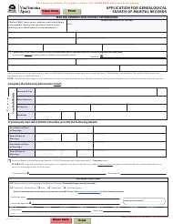 """Form VSA430G """"Application for Genealogical Search of Marital Records"""" - British Columbia, Canada"""