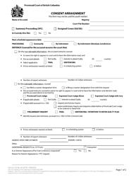 "Form 4 (CPD-1) ""Consent Arraignment"" - British Columbia, Canada"