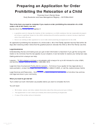 """Form O (PFA724) """"Application for Order Prohibiting the Relocation of a Child"""" - British Columbia, Canada"""