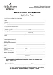 """Market Readiness Subsidy Program Application Form"" - Newfoundland and Labrador, Canada"